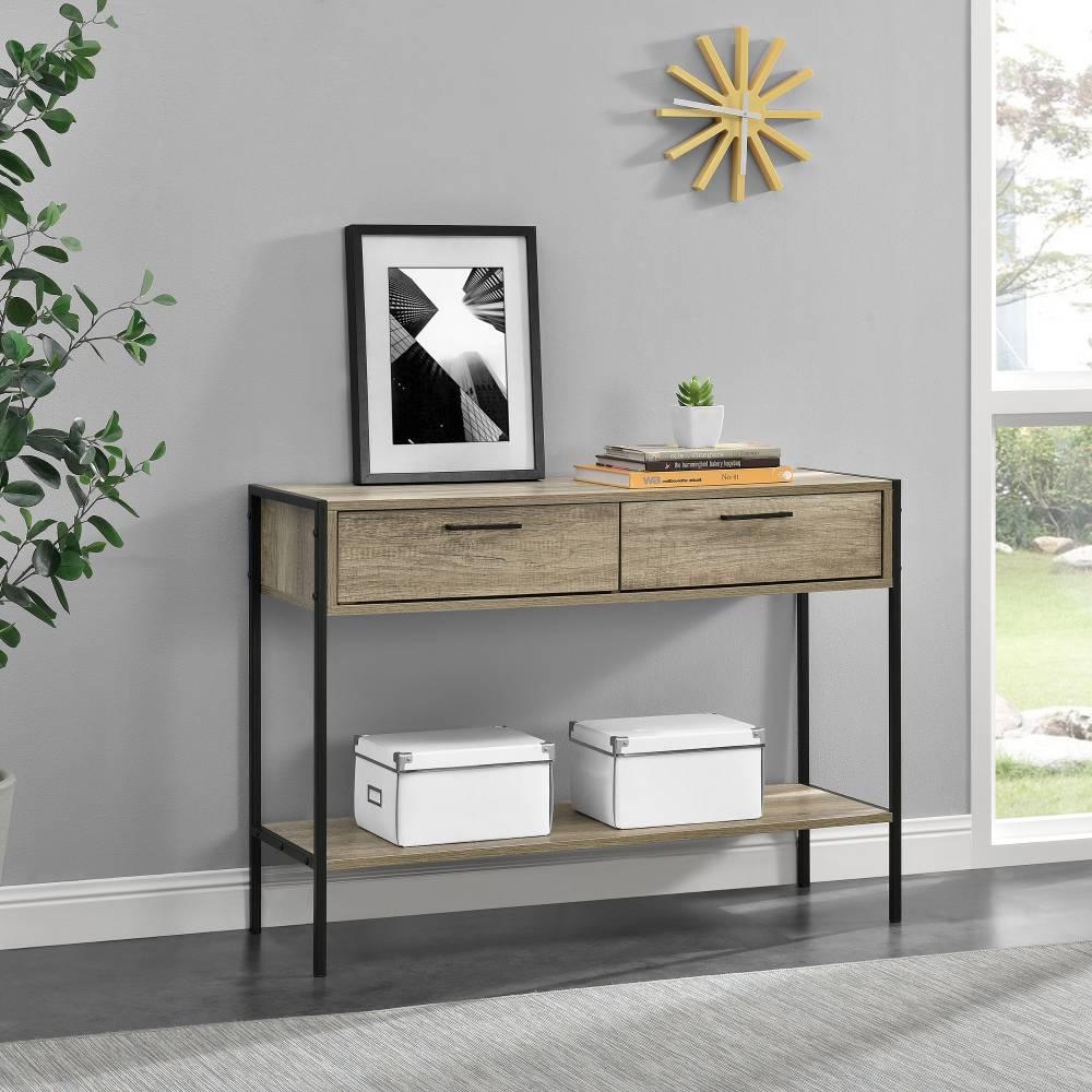 [neu.haus]® Skrinka - komoda - čierna a imitácia dreva - 73 x 100 x 35 cm