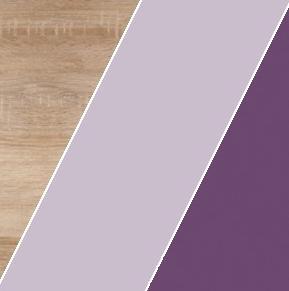 Šatníková skriňa KITTY 13   Farba: Dub sonoma svetlá / levanduľa / fialová