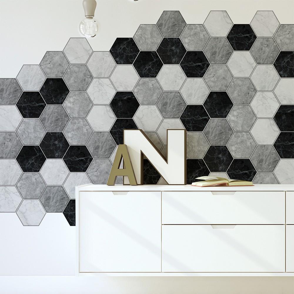 Sada 28 samolepiek Ambiance Hexagons Marble, 80 x 120 cm