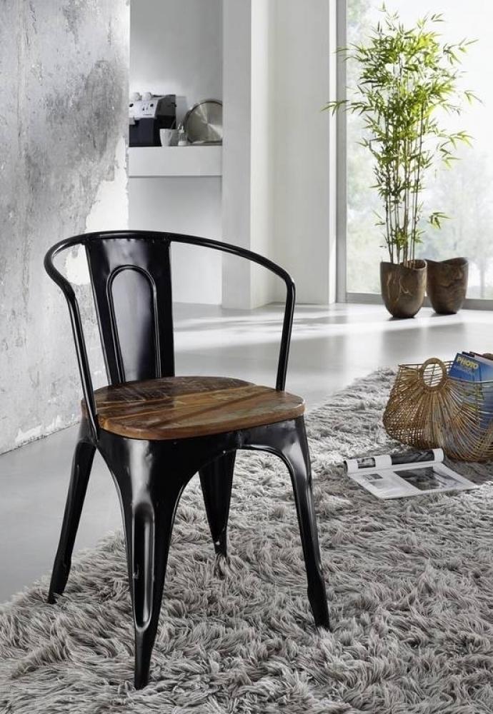 INDUSTRIAL stolička #63, liatina a staré drevo