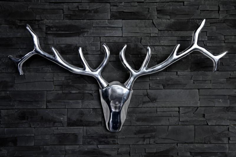 Socha hliníková JELEŇ 90cm - strieborná