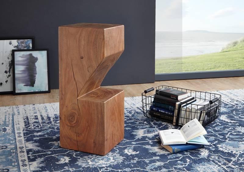 Bighome - PURE NATURE Barový stolík 30x75 cm, lakovaná akácia