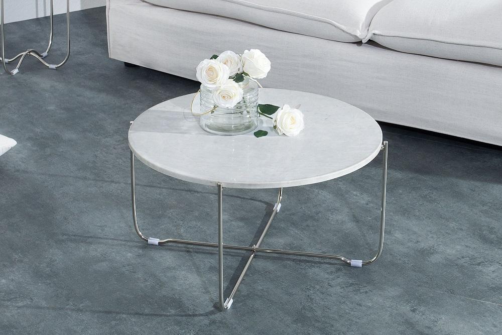 Bighome - Konferenčný stolík NOBL - biela , strieborná