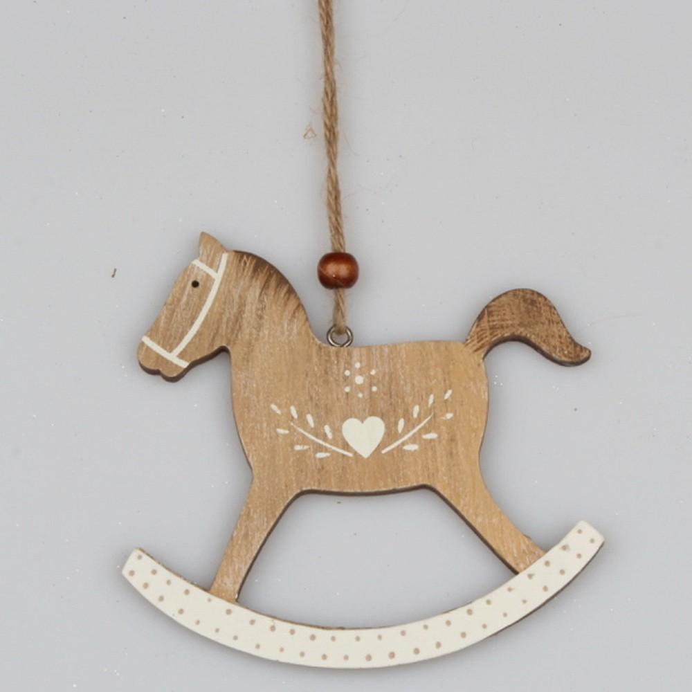Závesná drevená dekorácia Dakls Horse