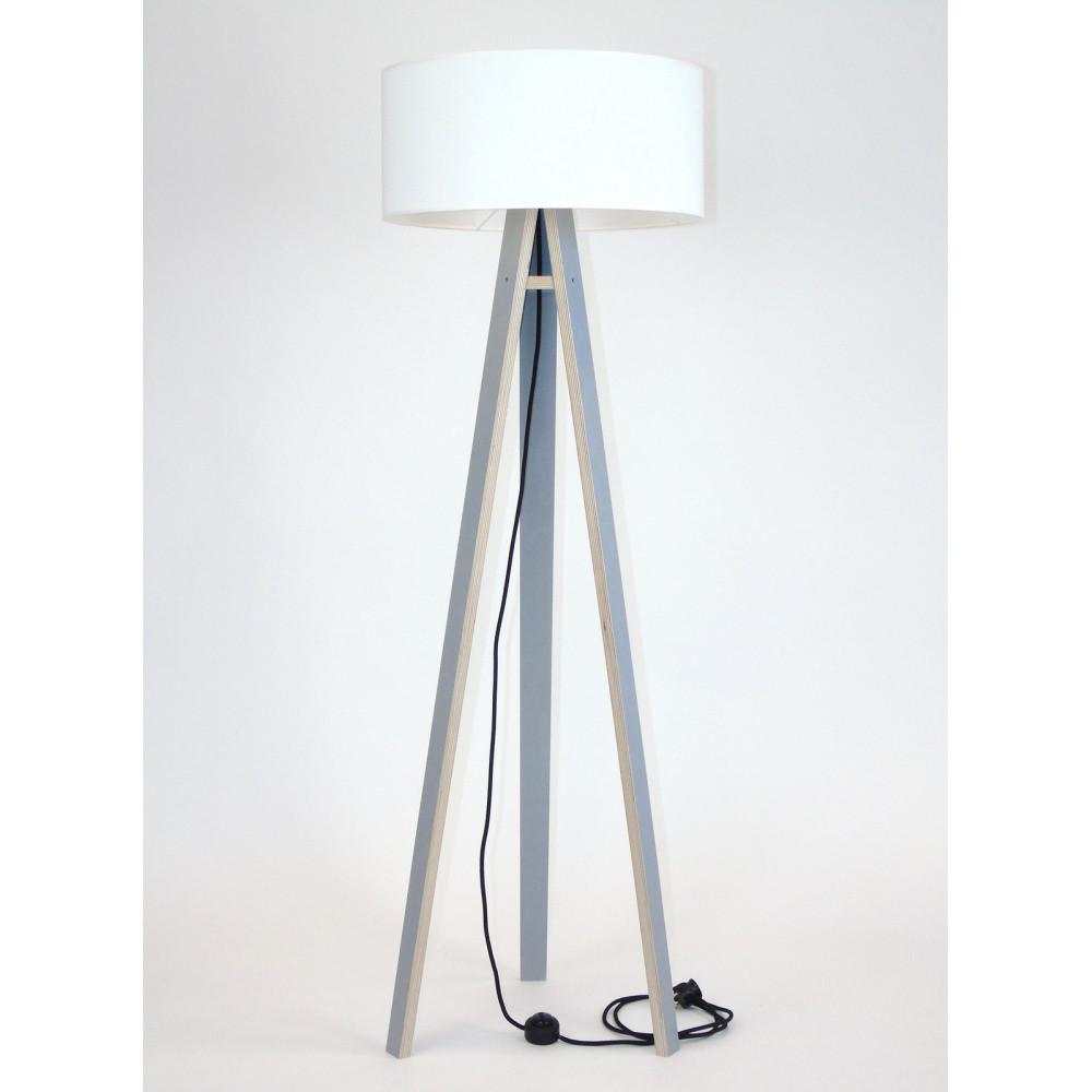 Sivá stojacia lampa s bielym tienidloma čiernym káblom Ragaba Wanda