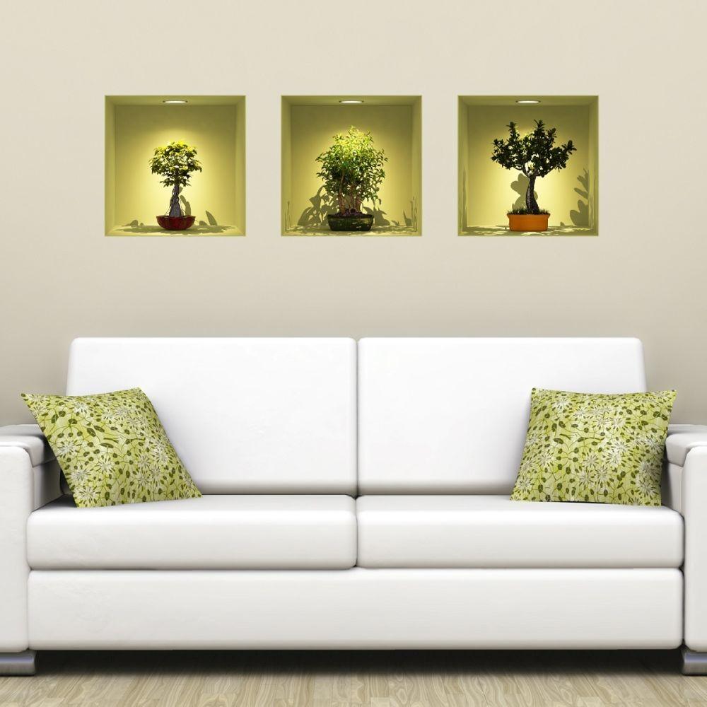 Sada 3 samolepiek s 3D efektom Ambiance Fanastick Bonsai Trees On Spot