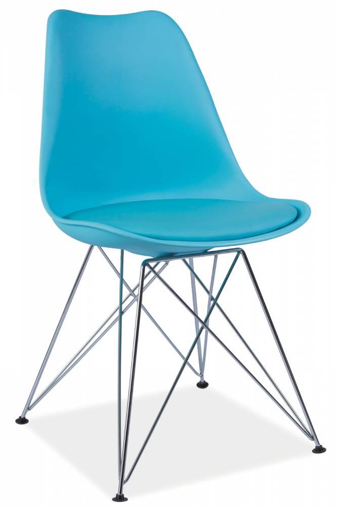 Jedálenská stolička Tim (modrá + chróm)