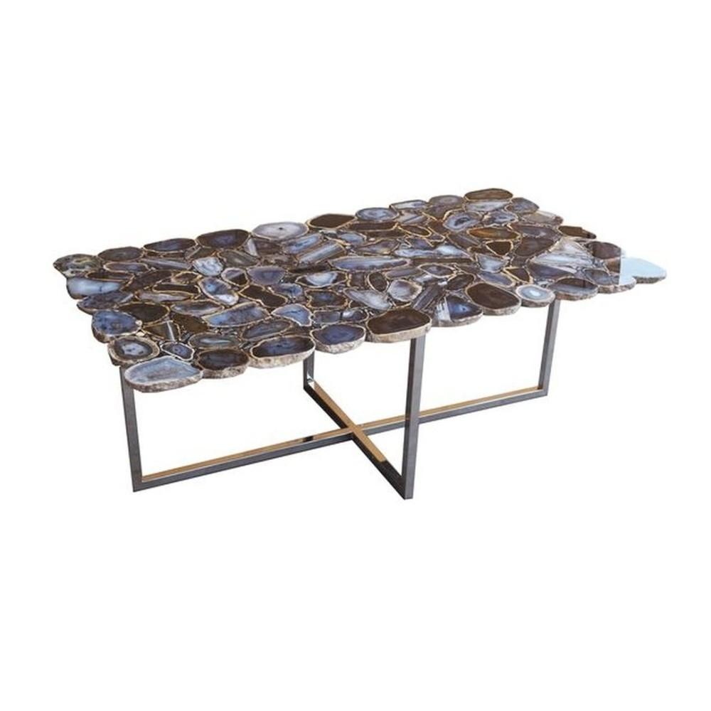 Konferenčný stôl z antikoro ocele a kamenné dosky Kare Design, 110 x 60cm