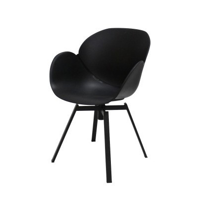 Čierna jedálenská stolička s čiernym podnožím Canett Oliver