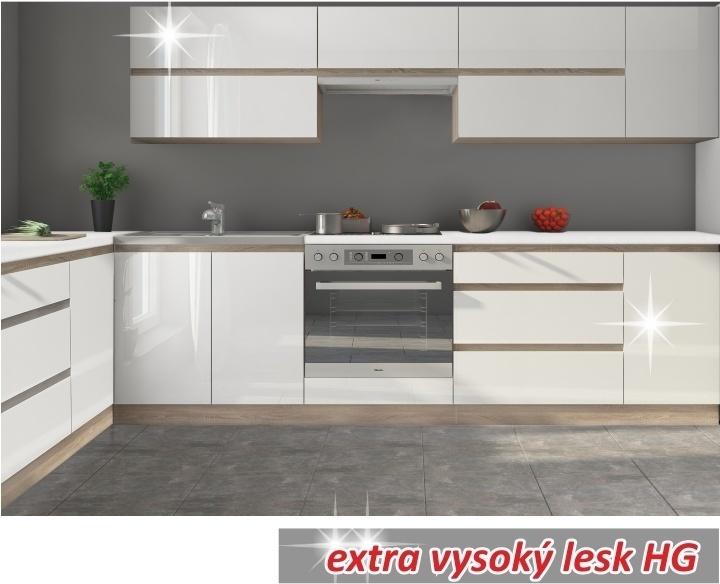 TEMPO KONDELA LINE WHITE 260 kuchyňa - biely vysoký lesk / dub sonoma