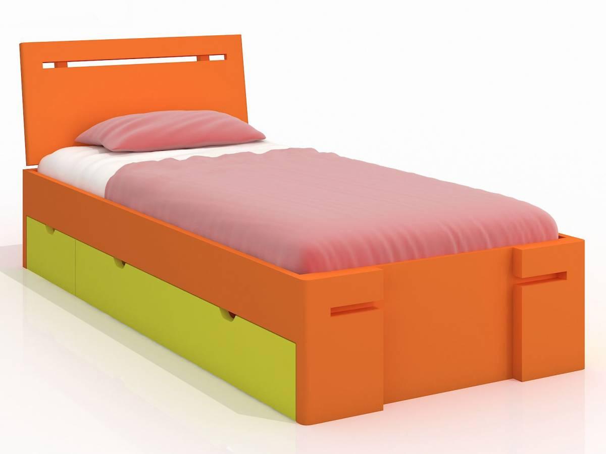 Jednolôžková posteľ 90 cm Naturlig Kids Bokeskogen High Drawers (borovica) (s roštom)