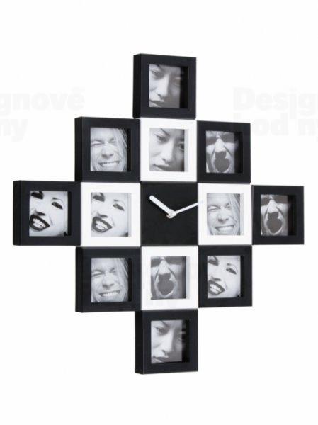 Fisura nástenné hodiny Black&White Photo Frames 48cm