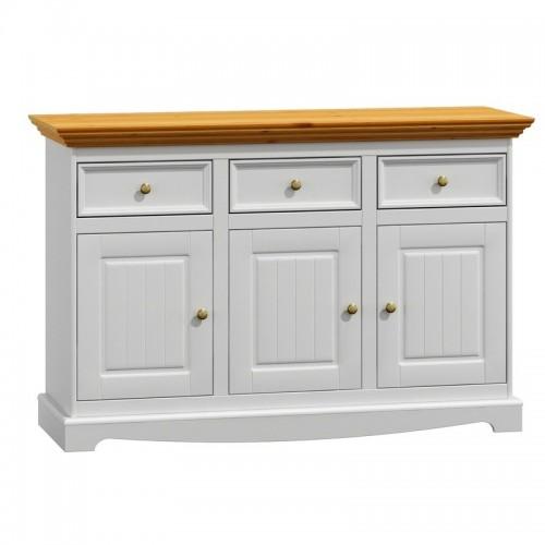 Biely nábytok Belluno Elegante 3.3, drevená komoda, dekor biela / dub, masív, borovica