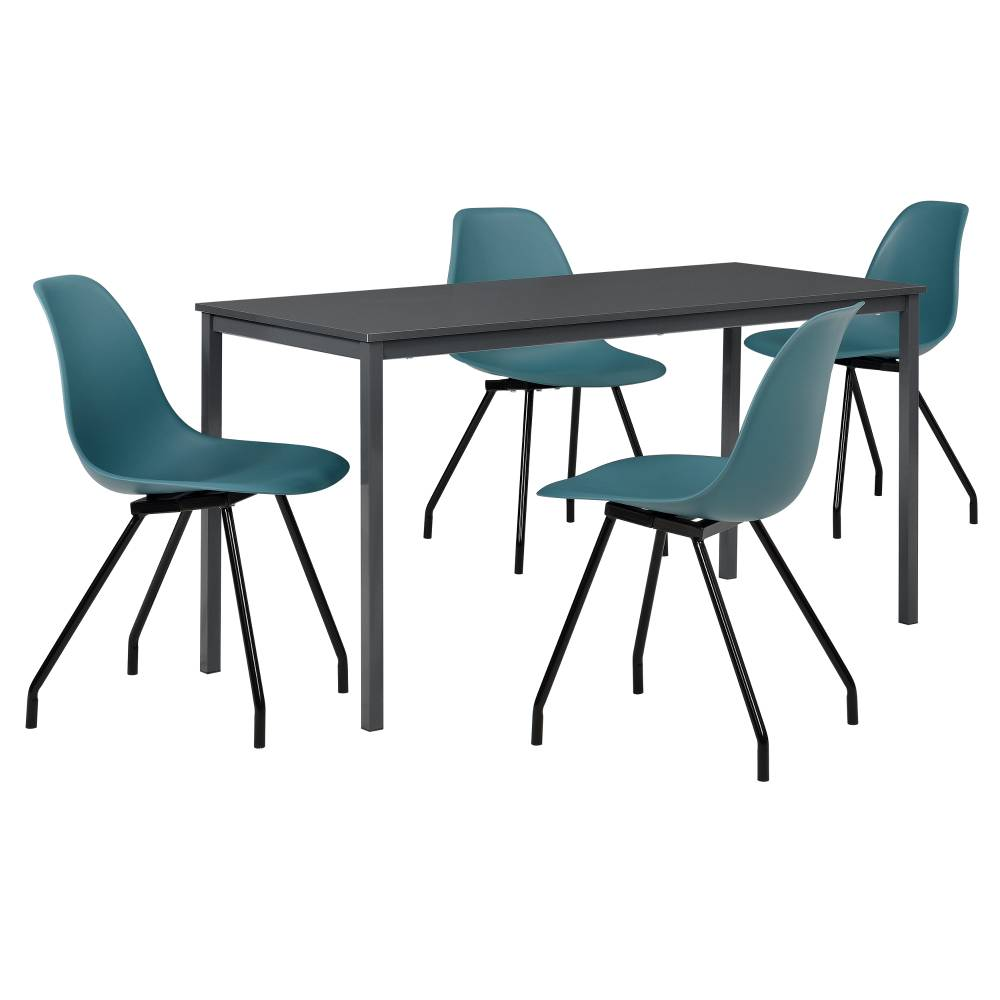 [en.casa]® Štýlová dizajnová jedálenská zostava - tmavo sivý stôl - so 4 elegantnými stoličkami - tyrkysovými
