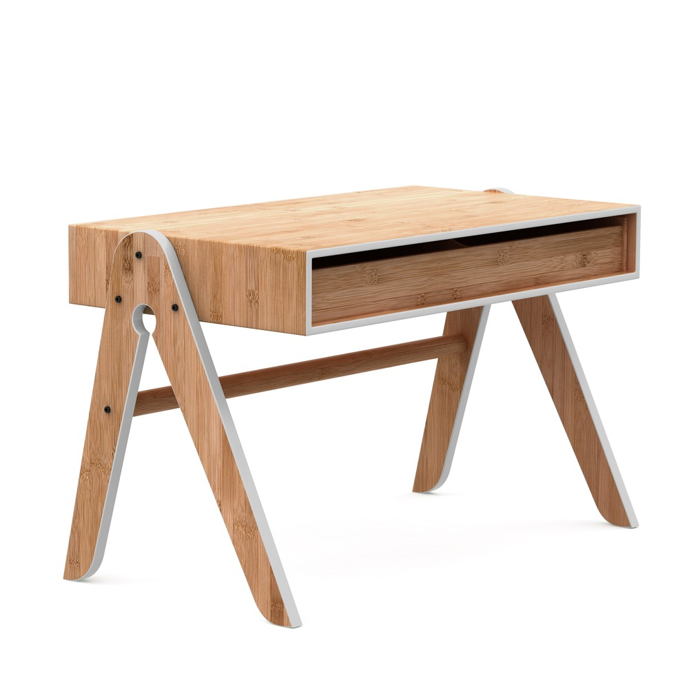 Detský bambusový písací stôl so sivými detailmi We Do Wood Geo's