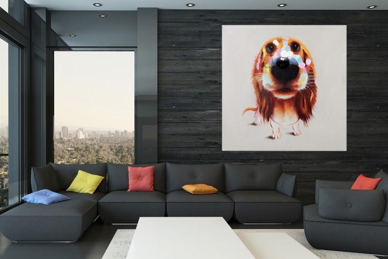 Obraz PES BELO POP ART 80x80 cm - olejomaľba