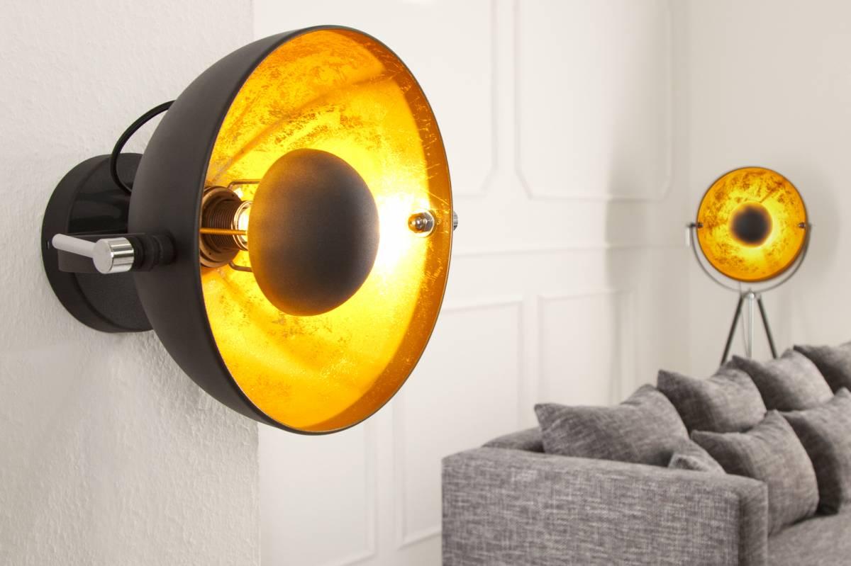 Masiv24 - Nástenná lampa STUIDO - čierna/zlatá