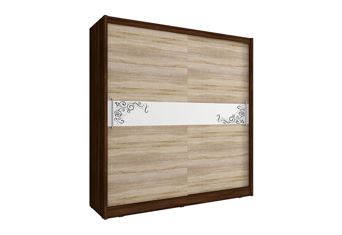 Šatníková skriňa WHITNEY 5 B, 200x214x62 cm, dub sonoma/čokoláda