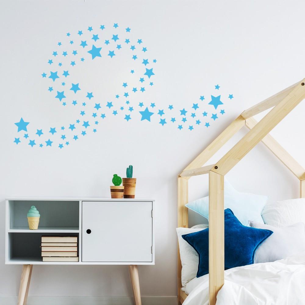 Sada 100 modrých nástenných detských samolepiek Ambiance Stars
