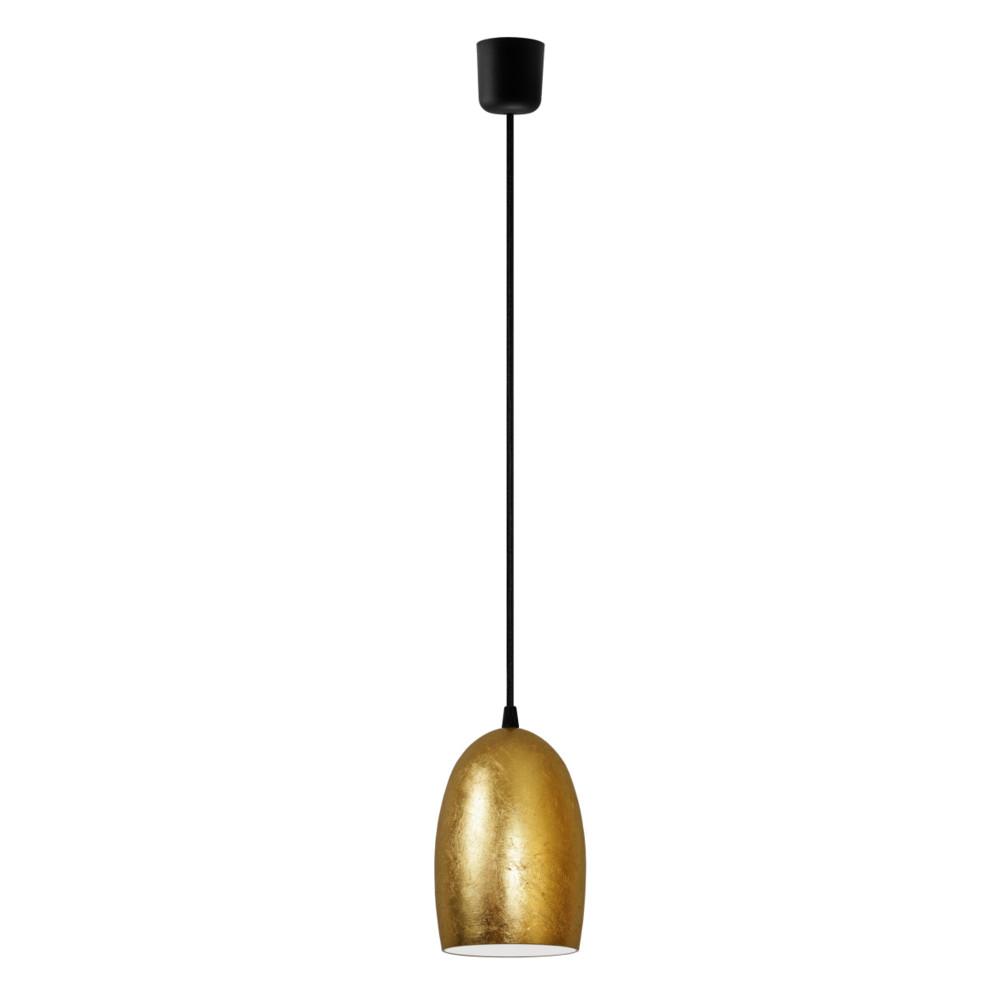 Zlaté závesné svietidlo s čiernym káblom a čiernou objímkou Sotto Luce Ume
