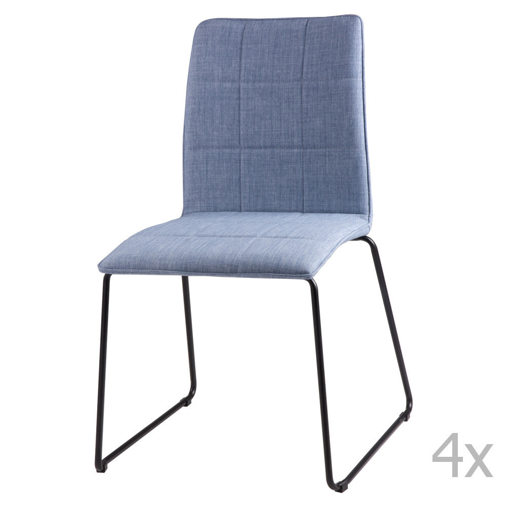 Sada 4 svetlomodrých jedálenských stoličiek sømcasa Malina
