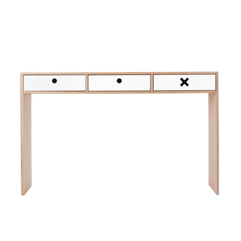 Biely pracovný stôl s troma zásuvkami Durbas Style