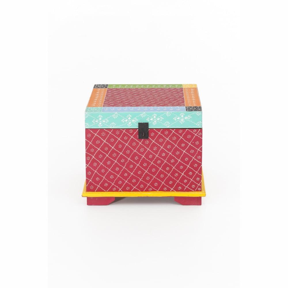 Úložný box z akáciového dreva WOOX LIVING India Colore