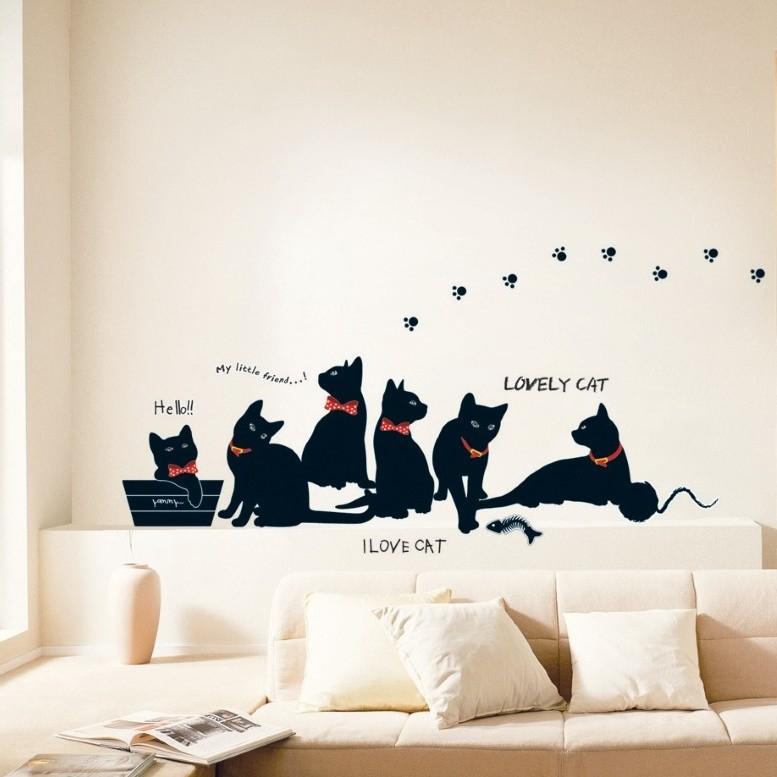 Čierna samolepka Ambiance Cats with Bowties