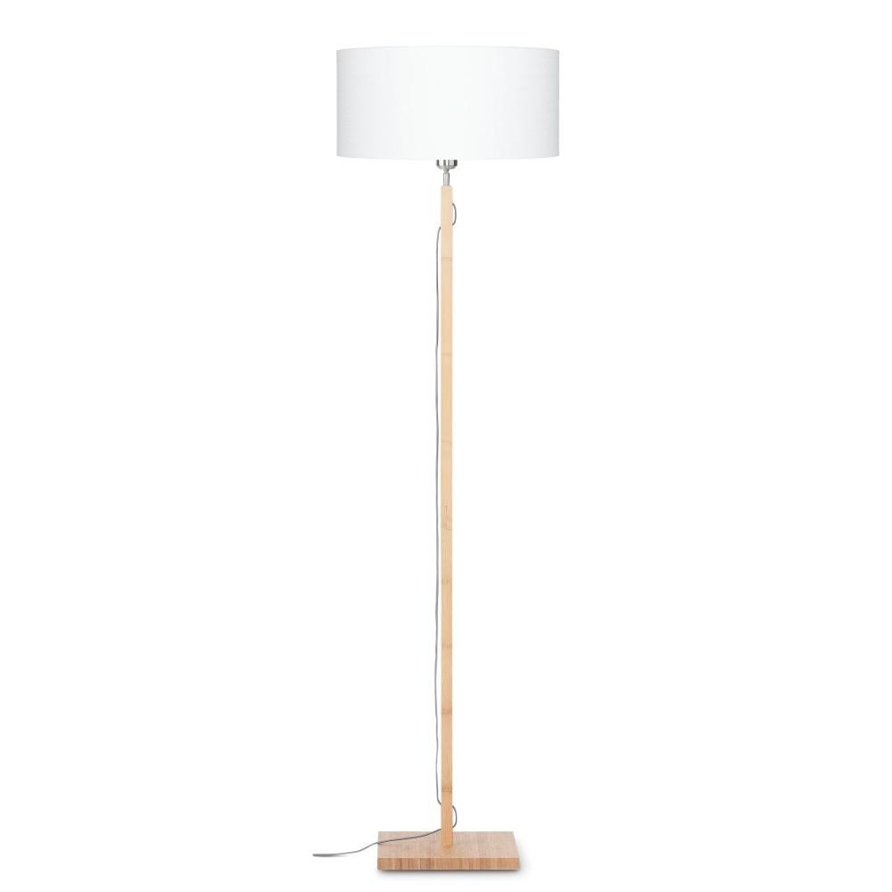 Stojacia lampa s bielym tienidlom a konštrukciou z bambusu Good&Mojo Fuji