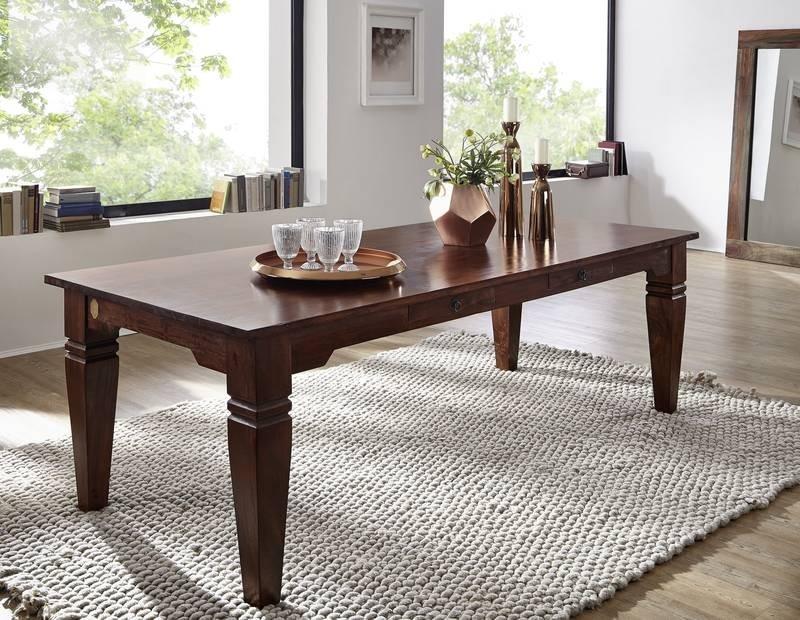 Bighome - SUNO CAMBRIDGE Koloniálny jedálenský stôl 200x100 masívne akáciové drevo