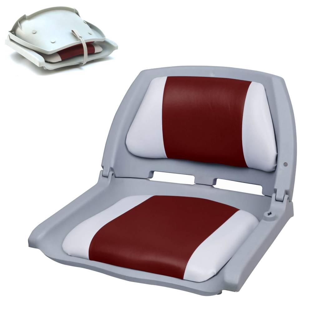 [pro.tec]® Kapitánske sedadlo - pre lode / člny/ jachty - 521 x 457 x 408 mm - červeno-biele