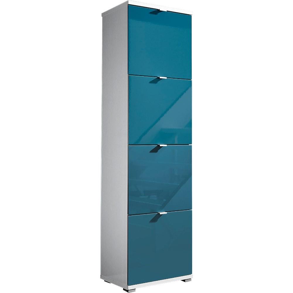 Biela skrinka na topánky s modrými zásuvkami Germania Colorado, výška 174 cm