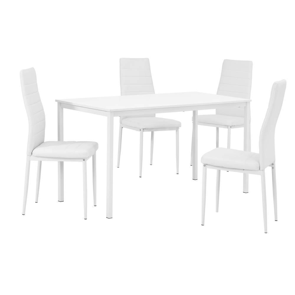 [en.casa]® Štýlový dizajnový jedálenský stôl (140 x 60 cm) - so 4 elegantnými stoličkami (biele)