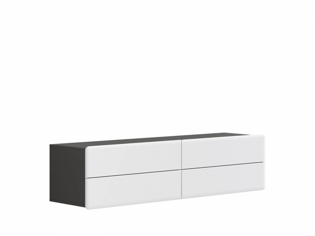 TV stolík/skrinka Possi Light RTV4S 4/16 (sivý wolfram + lesk biely)