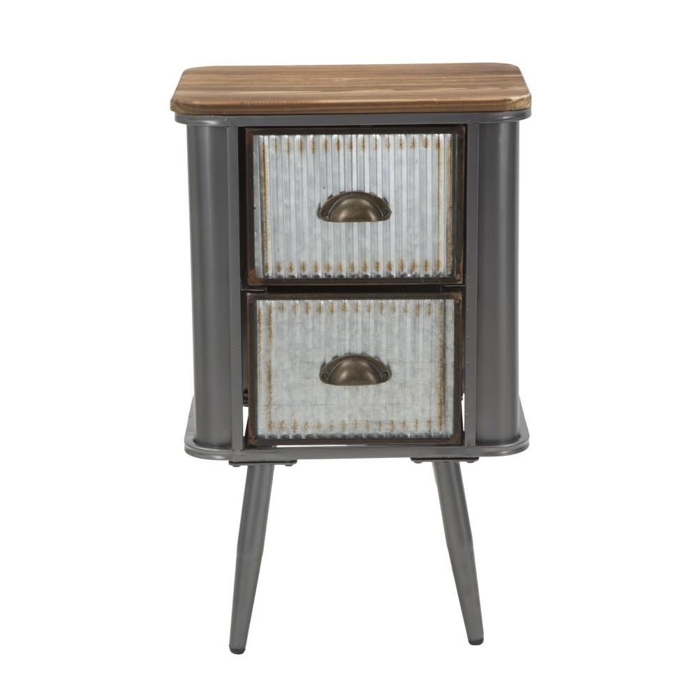 Železný nočný stolík s doskou z jedľového dreva Mauro Ferretti Illinois