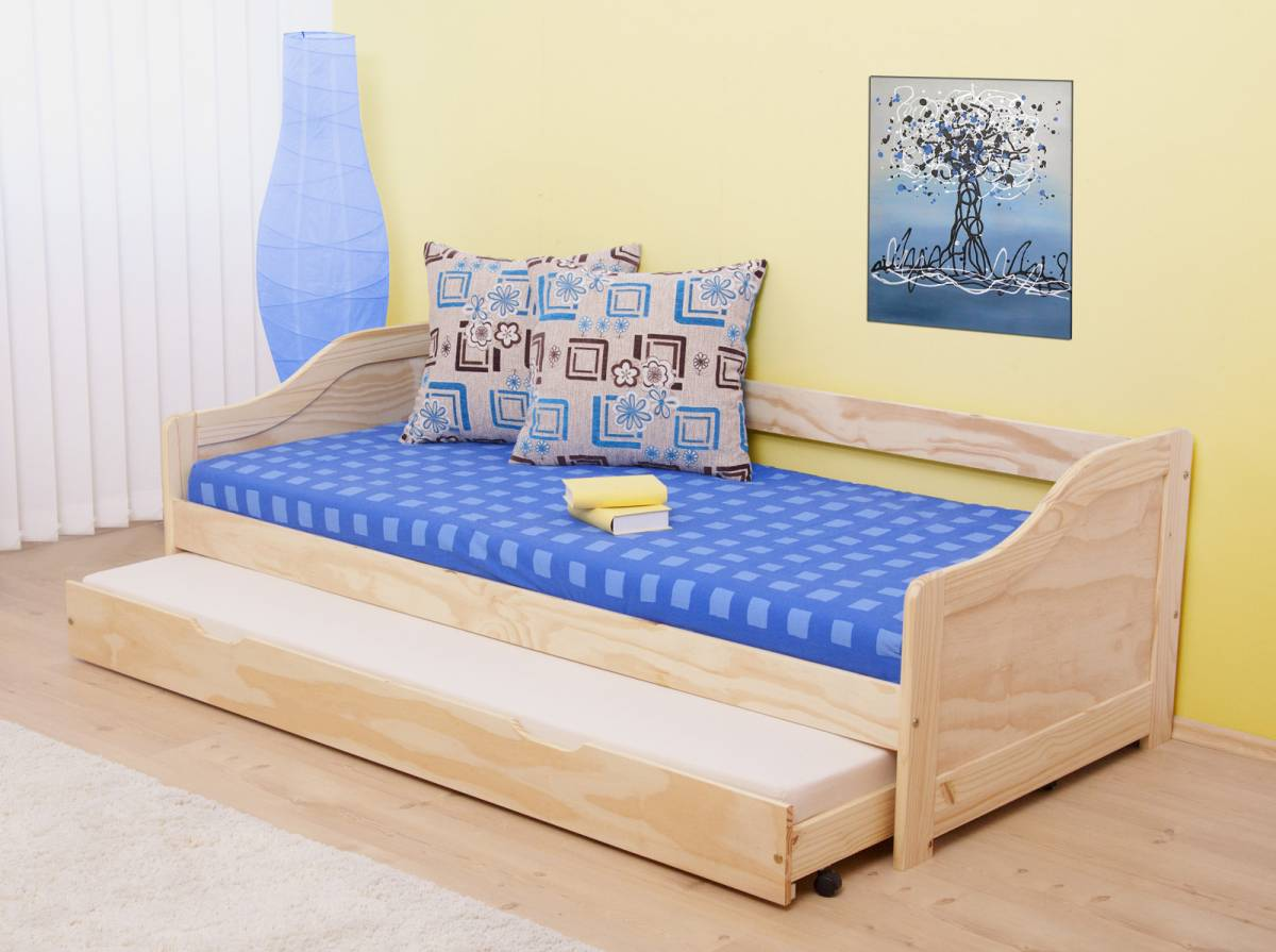 Rozkladacia posteľ 90 cm Laura (masív, s dvomi roštami)