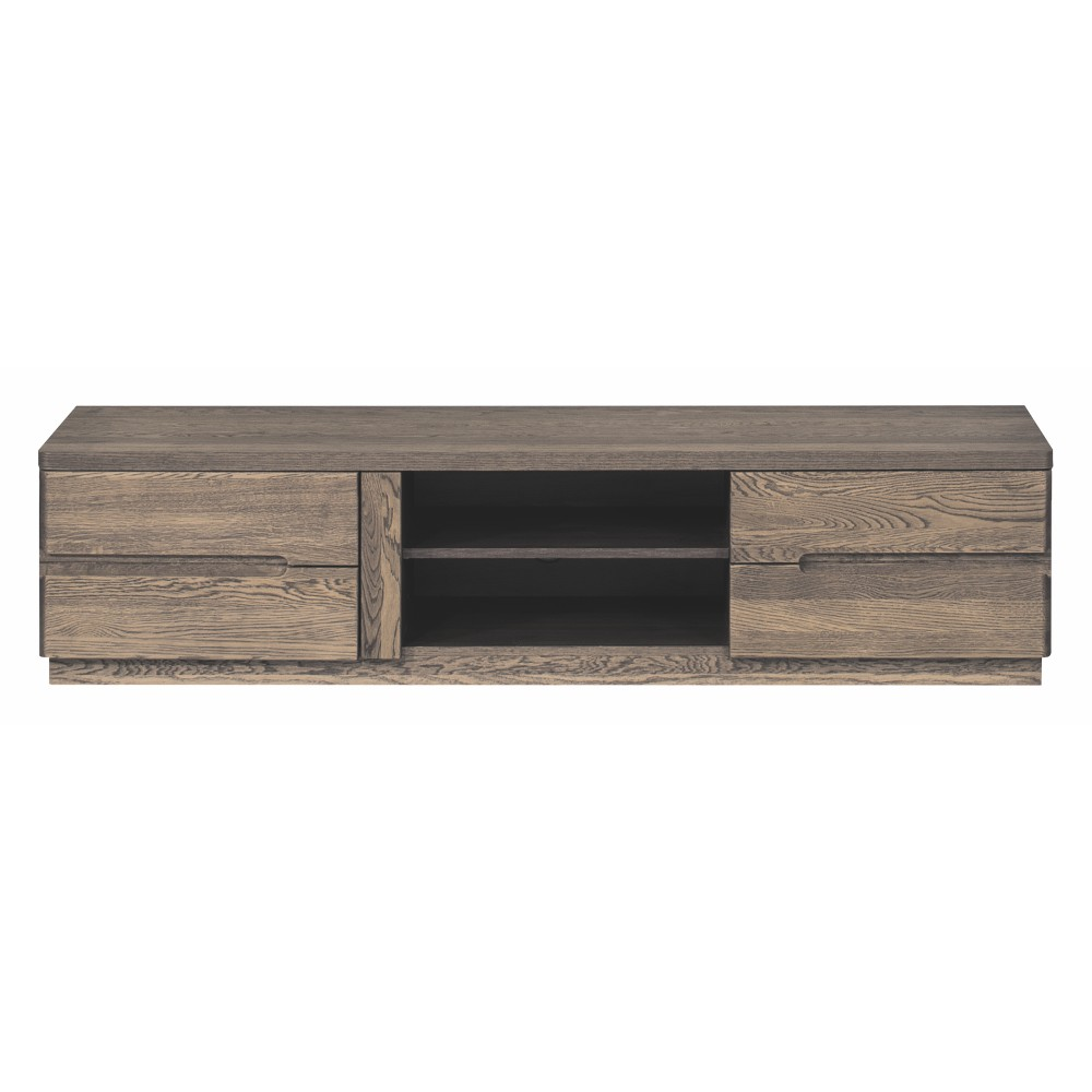 Dvojdverová TV komoda v drevenom dekore dymového duba Szynaka Meble Negro
