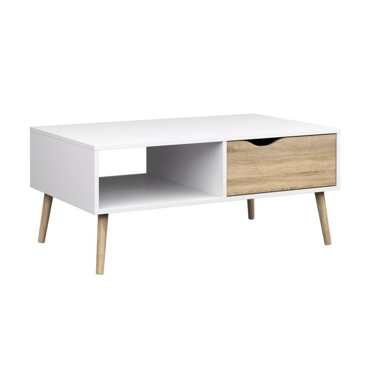 Konferenčný stolík, dub sonoma / biela, DELTA 75384