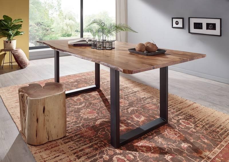 Bighome - METALL Jedálenský stôl s tmavošedými nohami 160x90, akácia, prírodná