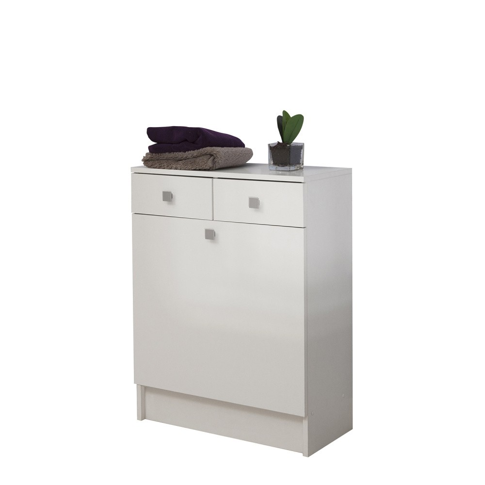 Biela kúpeľňová skrinka na kôš na bielizeň Symbiosis André, šírka 60cm