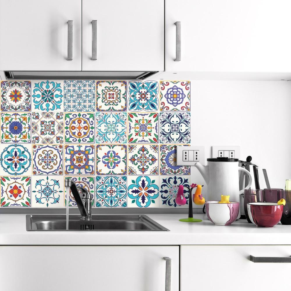 Sada 24 nástenných samolepiek Ambiance Decals Patchwork Tiles, 10 × 10 cm