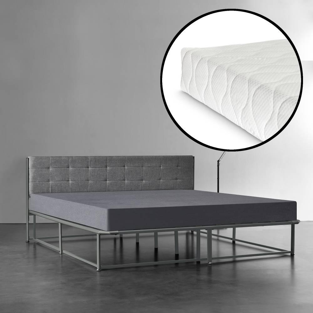 6e90736856fe  en.casa ® Kovová manželská posteľ - s roštom a matracom - 180. Manželské  postele