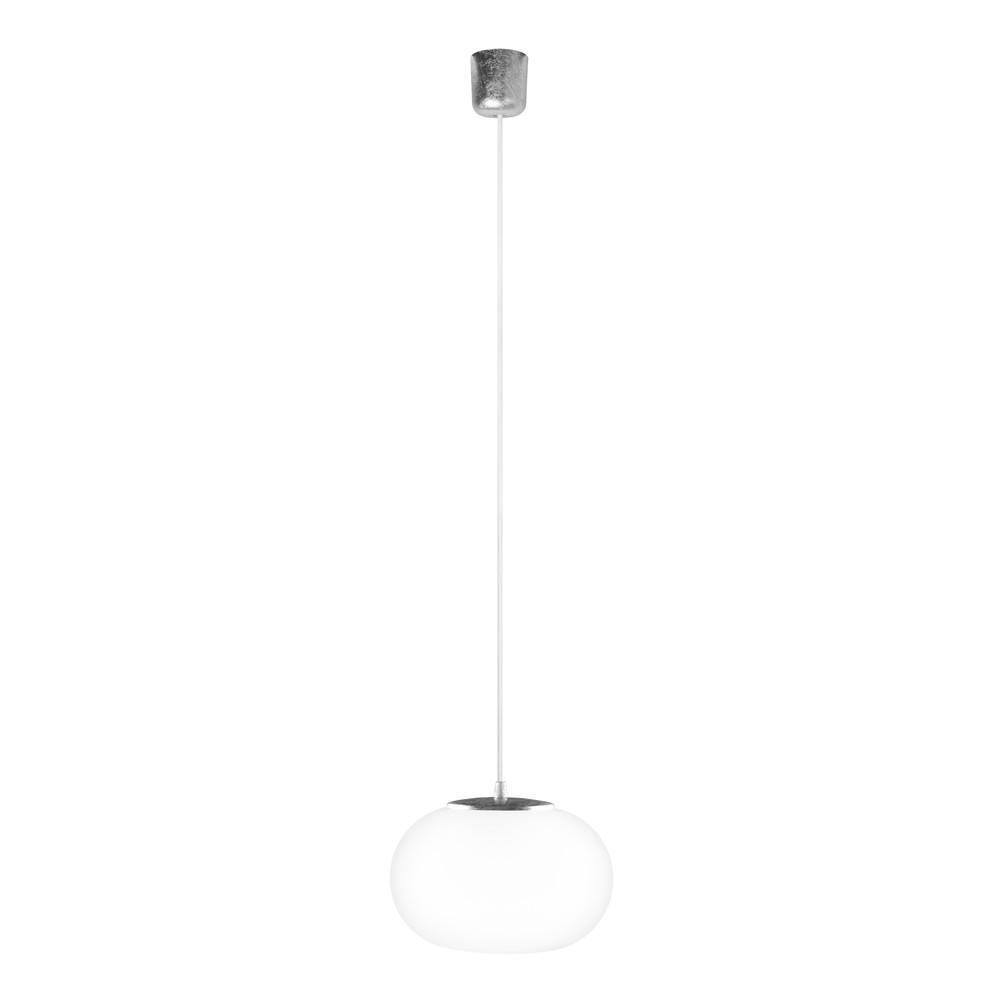 Bielo-strieborné svietidlo s bielym káblom a striebornou objímkou Sotto Luce Dosei
