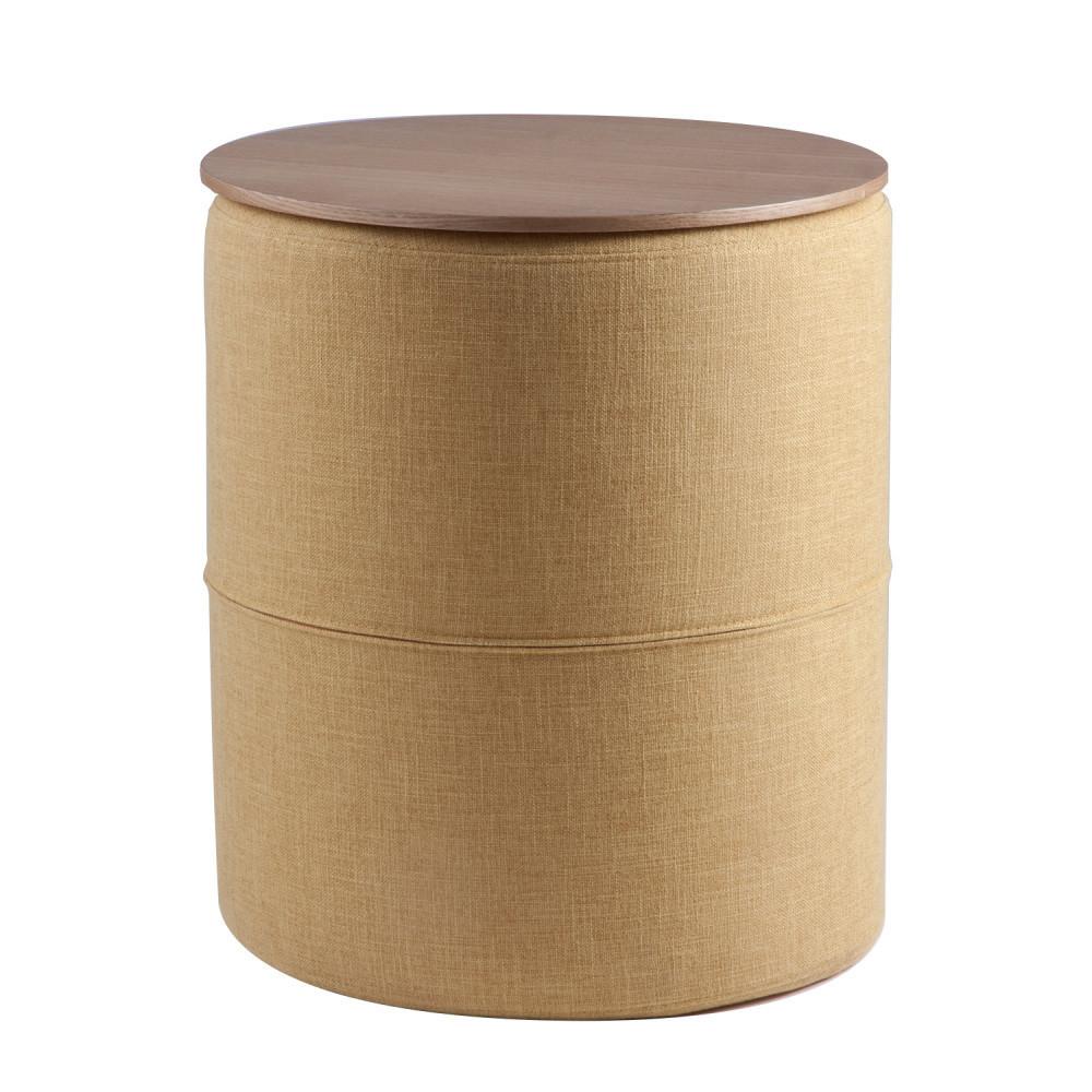 Žltý odkladací stolík sdoskou vdekore dubového dreva sømcasa Leo