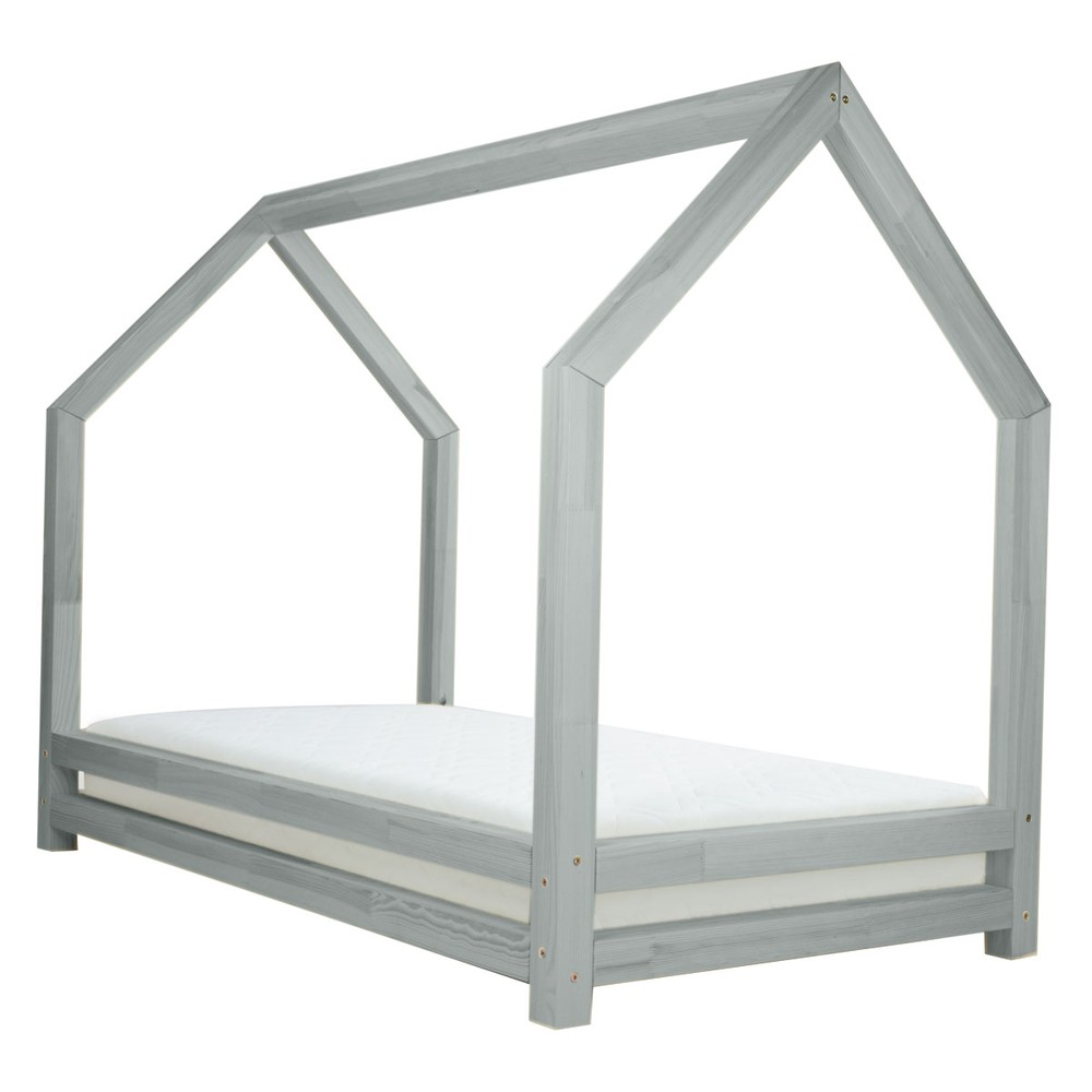 Sivá detská posteľ z lakovaného smrekového dreva Benlemi Funny, 80 × 200 cm