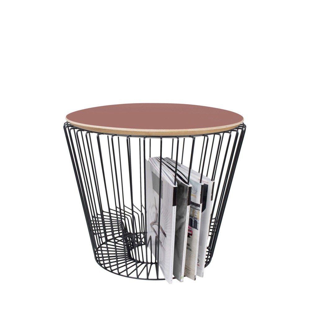 Odkladací stolík z lakovaného kovu s ružovou HARTÔ, Ø50 cm