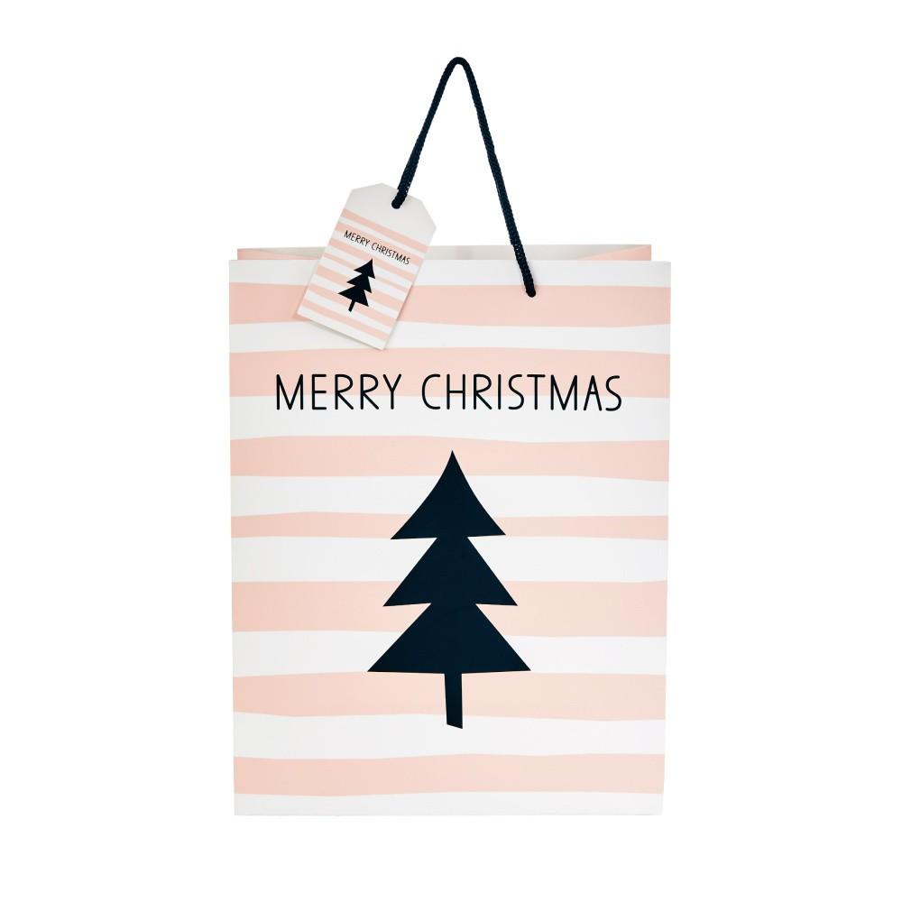 Svetloružová darčeková taška Butlers Merry Christmas, výška 13, 5 cm