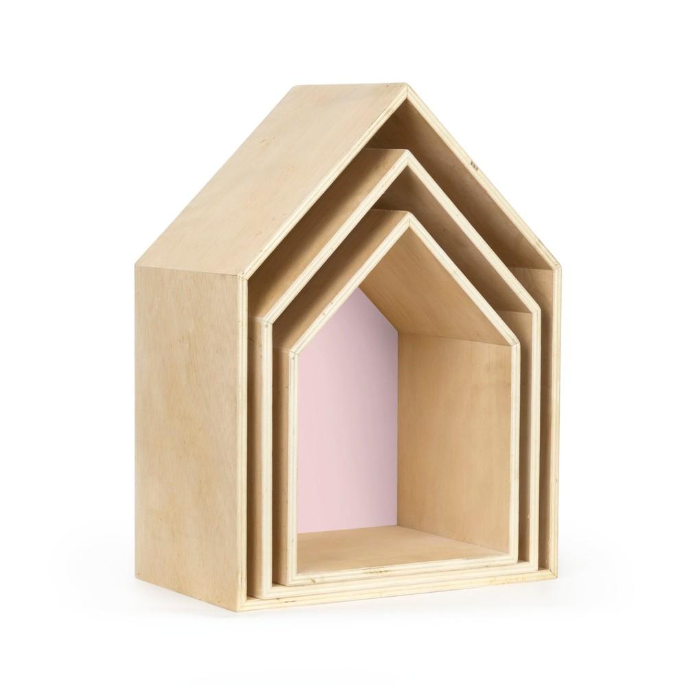 Sada 3 ružových nástenných poličiek Really Nice Things Houses