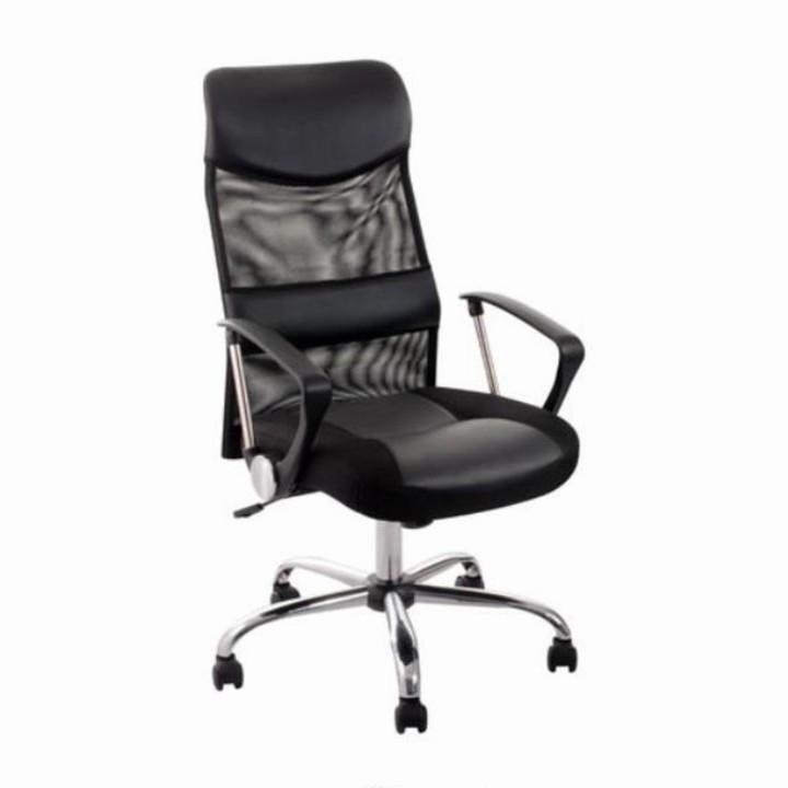 Kancelárska stolička TC3-973M  EKOKOZA CIERNA+SIETKA+CHRO