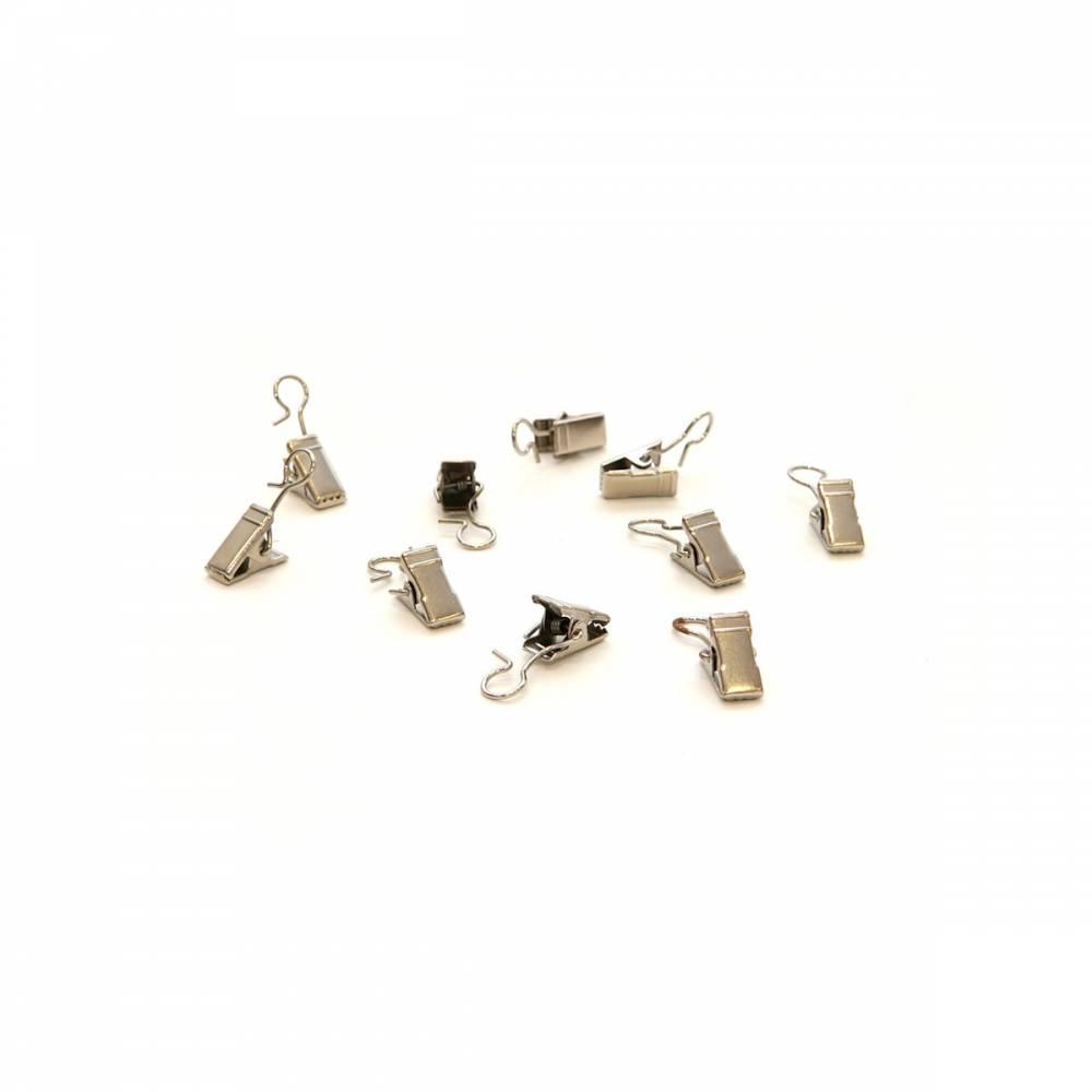 Háčiky so žabičkou kovové, 10 ks, ušľachtilá oceľ